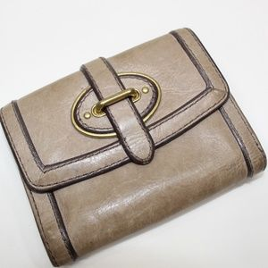 Fossil Tan Leather Tri-Fold Small Wallet